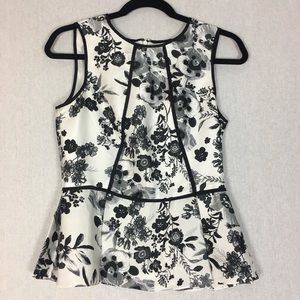 Vince Camuto Peplum Blouse Size 2 White Floral